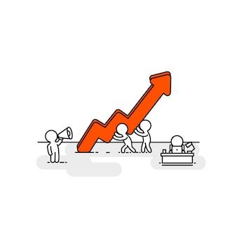 Menschen roter pfeil nach oben büroleute. vektor-illustration
