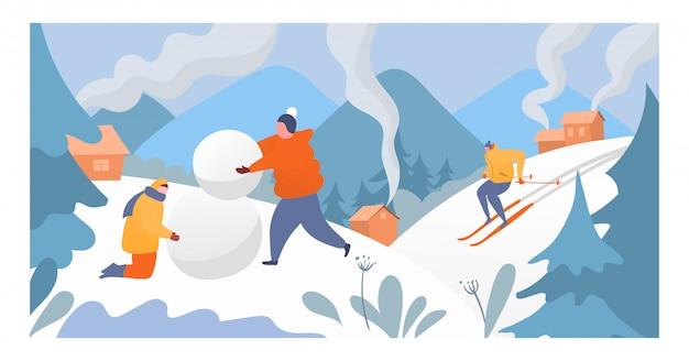Menschen ruhen bergwintersport, charakter männliche frau, die schneemann und sportler skifahrer unten alpine illustration macht.