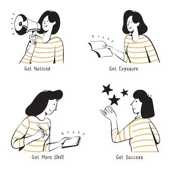 Menschen schritte, um eine top-seller-illustration zu werden