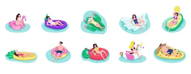 Menschen schweben auf luftmatratzen farbe gesichtslosen zeichen gesetzt. erwachsene jungs und mädchen trinken cocktail im pool. touristen, die karikaturillustrationen auf weißem hintergrund sonnen
