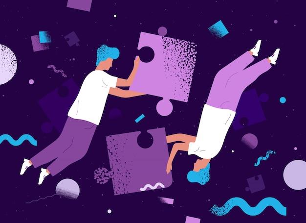 Menschen schweben ein puzzle zu machen