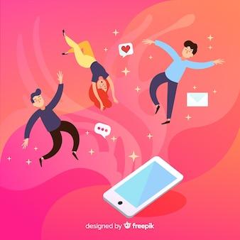 Menschen schweben mit dem smartphone