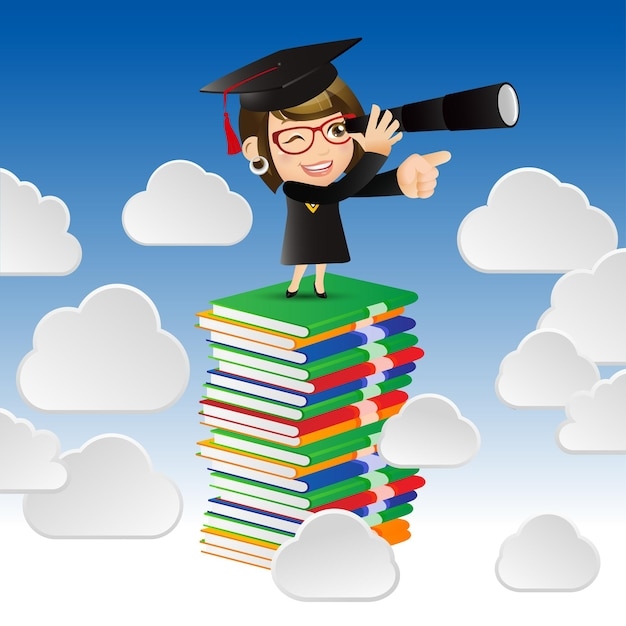 Menschen setzen bildung graduate student frau auf der suche nach konzept für zukünftige trends