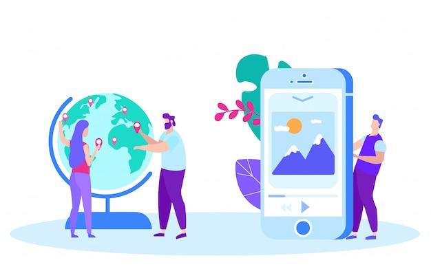 Menschen setzen geolocation auf globus. zeichen-fernunterricht. fernunterricht. online-unterricht. e-learning.