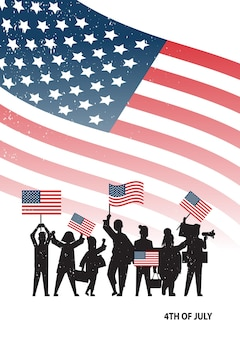 Menschen-silhouetten, die flaggen der vereinigten staaten halten, die den amerikanischen unabhängigkeitstag feiern, 4. juli-banner