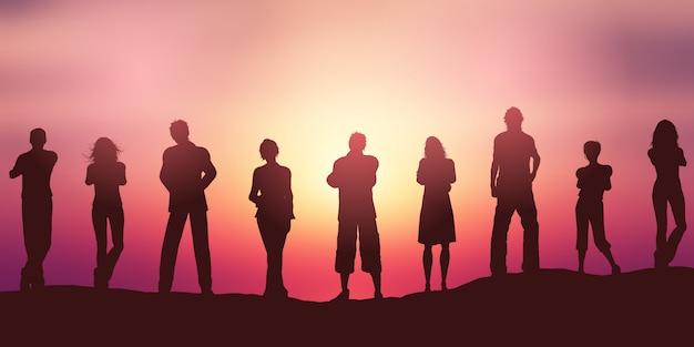 Menschen silhouetten gegen einen sonnenuntergang himmel