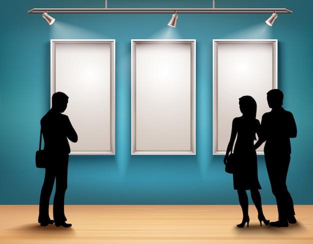 Menschen silhouetten in der galerie