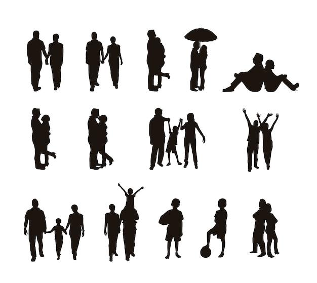 Menschen silhouetten isoliert über weißem hintergrund vektor-illustration