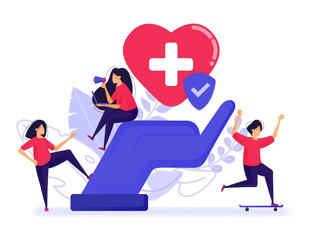 Menschen sind glücklich, weil sie bereits eine kranken- und lebensversicherung haben.