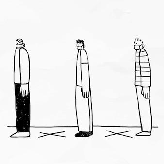 Menschen sind sozial distanziert, während sie doodle-elemente in die warteschlange stellen