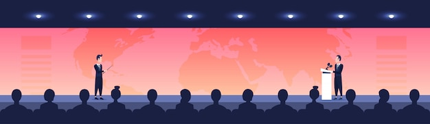 Menschen sitzen kinosaal zurück rückansicht suchen geschäftsmann frau politiker sprechen