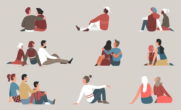 Menschen sitzen zusammen, setzen familie mit kindern und paaren zusammen und umarmen sich