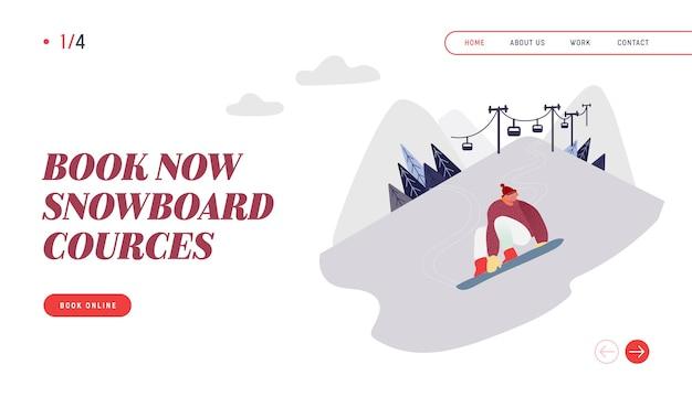 Menschen snowboarding website landing page. snowboard man rider charakter mit spaß und winter mountain sports aktivität. ski resort sport freizeit webseite banner.
