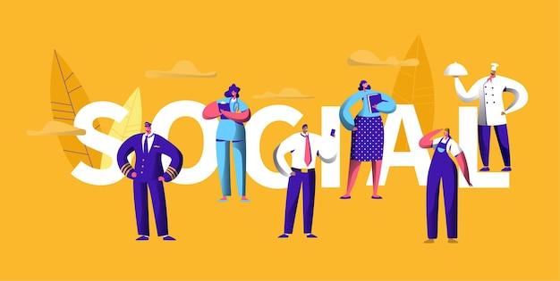 Menschen social media unterschiedliche karriere beruf typografie banner.