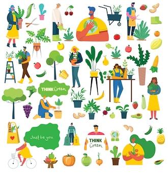 Menschen sommergartenarbeit - reihe von vektor-flachen handgezeichneten illustrationen von menschen, die gartenarbeit machen - bewässerung, pflanzung, züchtung und transplantation von sprossen, selbstversorgungskonzept