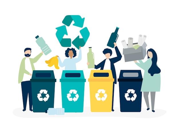 Menschen sortieren müll für das recycling