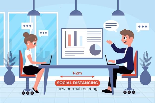 Menschen soziale distanzierung in einem meeting