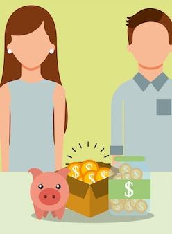 Menschen sparen geld