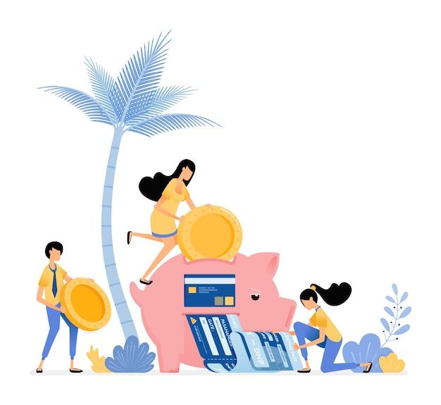 Menschen sparen in sparschweinen, um lebensmittel einzukaufen, freizeit zu verbringen und rechnungen zu bezahlen.