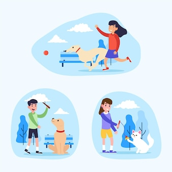 Menschen spielen mit ihren haustieren illustrationen