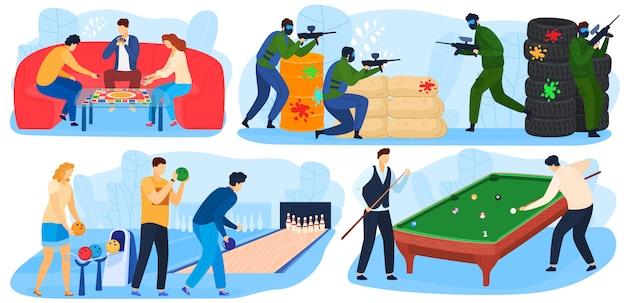 Menschen spielen spiele, freizeit und spaß spielzeit aktivität, unterhaltung mit paintball-spiel, billard, bowling-set von illustrationen.