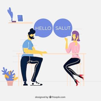 Menschen sprechen in verschiedenen sprachen