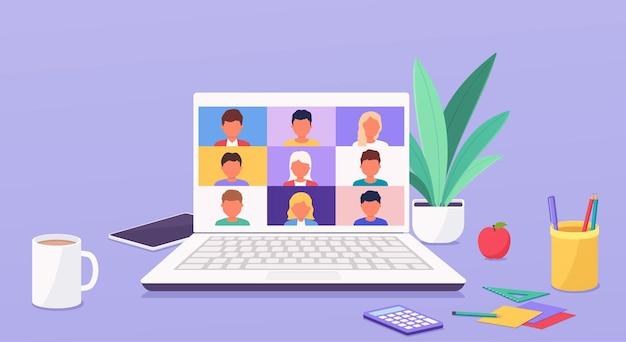 Menschen sprechen oder lernen online per telefonkonferenz auf dem laptop und arbeiten von überall auf der welt von zu hause aus. videoanruf zur konferenz.