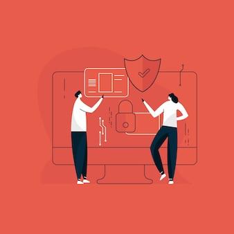 Menschen sprechen über den schutz personenbezogener daten und die cybersicherheit, die sicherheit digitaler informationen