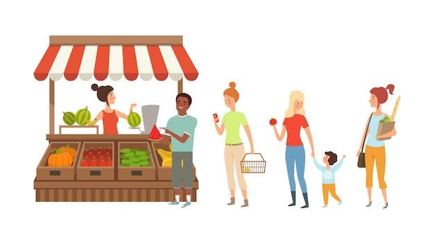 Menschen stehen am straßenschalter schlange. kiosk mit frischem obst und gemüse