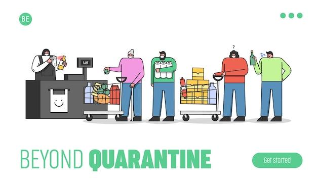 Menschen stehen in der schlange im supermarkt und tragen schutzmasken