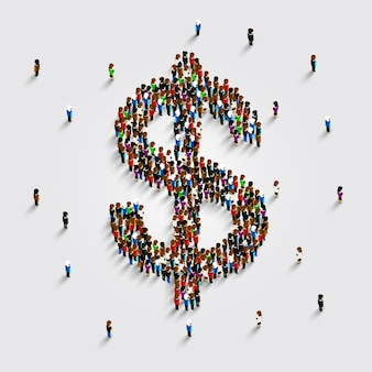 Menschen stehen in form eines dollar-geld-symbols. vektor-illustration