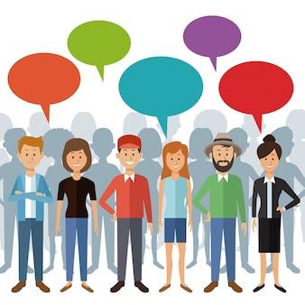 Menschen stehen mit dialogbox und schatten hinter personen