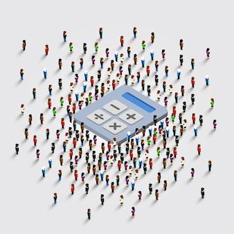 Menschen stehen um einen taschenrechner auf weißem hintergrund. vektor-illustration