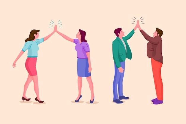 Menschen stehen und geben high five