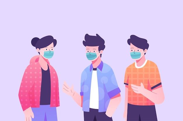 Menschen stehen und tragen chirurgenmasken