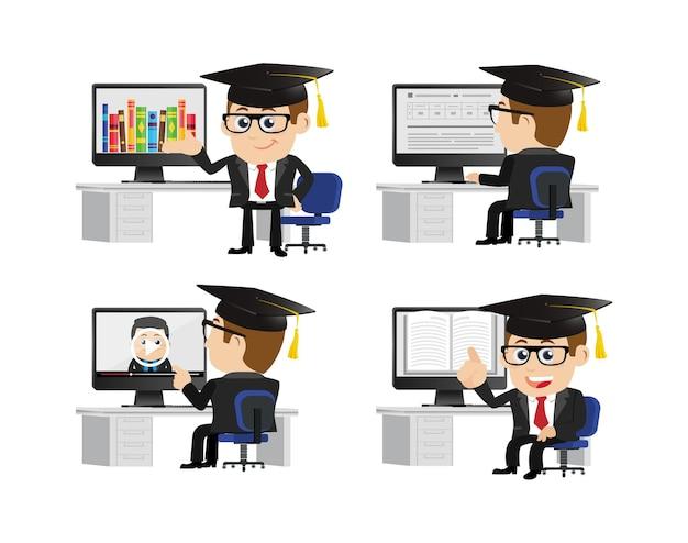 Menschen stellen e-learning-konzept ein
