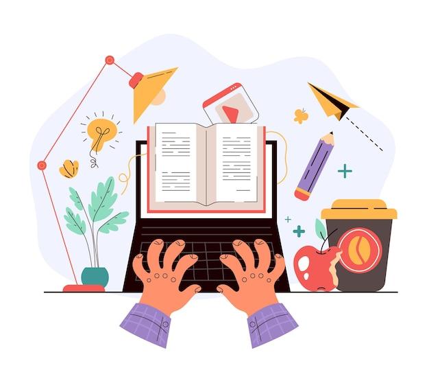 Menschen student charakter lesen offenes buch von internet online auf laptop-bildschirm