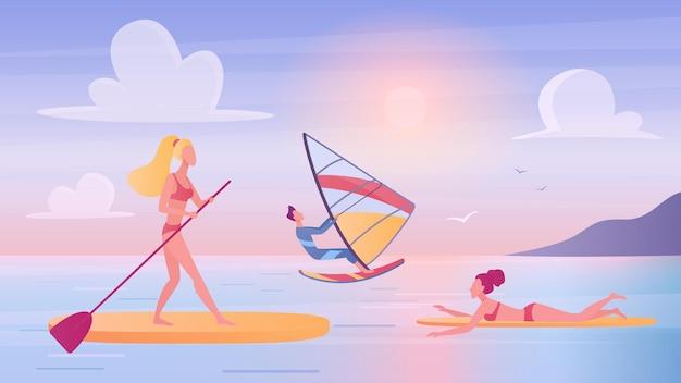 Menschen surfen auf dem meer ozeanwelle mann frau surfer surfen schwimmen schwimmend auf surfbrettern.