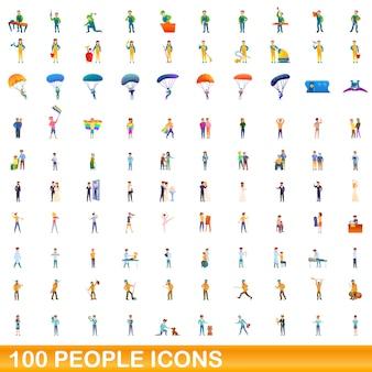 Menschen symbole gesetzt, cartoon-stil Premium Vektoren