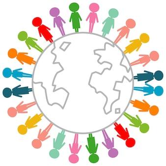 Menschen symbole in verschiedenen farben mit globus lokalisiert auf weißem hintergrund