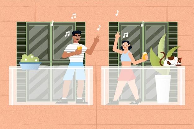 Menschen tanzen auf dem balkon staycation-konzept
