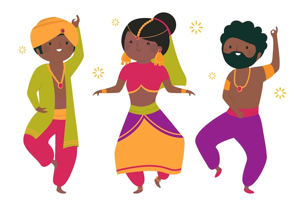 Menschen tanzen bollywood illustration konzept
