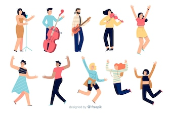 Menschen tanzen und spielen ein Instrument