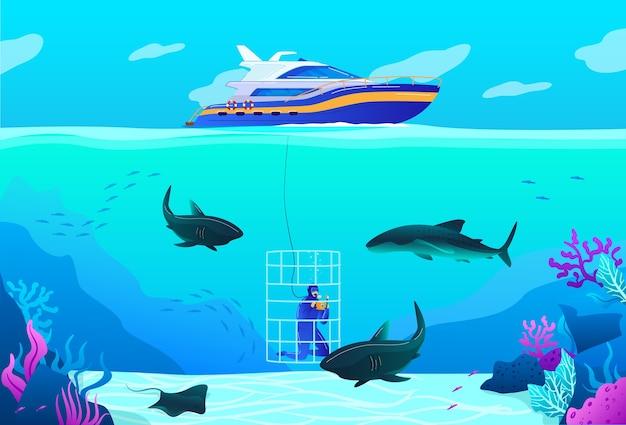 Menschen tauchen vektor-illustration. professioneller tauchercharakter der karikatur, der tropische tierwelt des ozeanmeeres, unterwassernatur, schwimmen mit hai erforscht