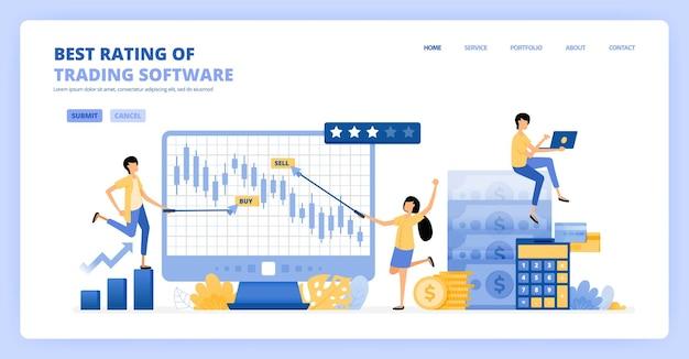 Menschen tauschen candle-chart-software gegen langfristige gewinne und investitionen