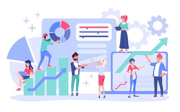 Menschen teamwork. geschäftsplanung, workflow-management und bürosituation. das finanzanalyseteam der geschäftsführerin des mannes interagiert mit dem diagramm. coworking-kommunikationskonzept