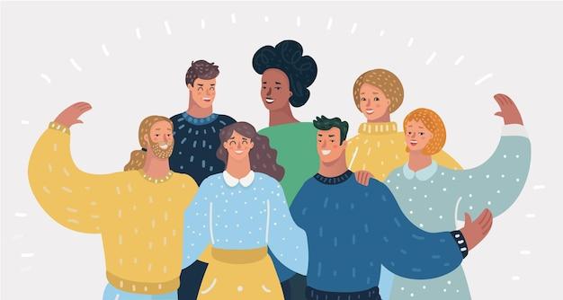 Menschen teamwork von verschiedenen menschen zusammen