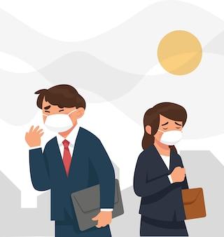 Menschen tragen masker, weil die stadtverschmutzung