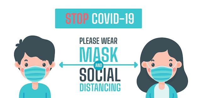 Menschen tragen medizinische masken und halten soziale distanz, um die ausbreitung des coronavirus zu verhindern.