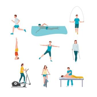Menschen trainieren illustrationen gesetzt Premium Vektoren